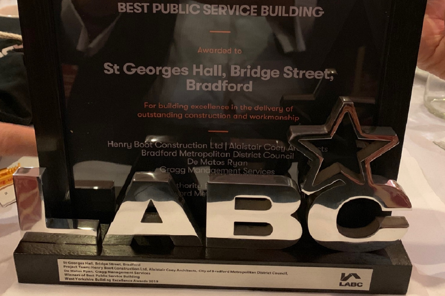 St George's Hall, Bradford, wins regional LABC Award!